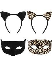 FRCOLOR Zwarte kattenoren set kattenoren hoofdband met maskerade Halloween kattenoren hoofdband set voor kinderen en volwassenen cosplay party kostuum (zwart, luipaardpatroon hoofdband & masker)