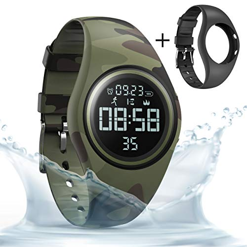 (synwee Sports Fitness Tracker Watch,IP68 Waterproof, Non-Bluetooth, with Pedometer/Vibration Alarm Clock/Timer, for Kid Children Teen Boys Girls (Camouflage Green))
