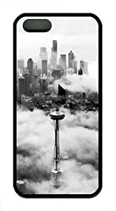 Seattle Space Needle Tower TPU Case Cover For iPhone 5 and iPhone 5S Black hongguo's case