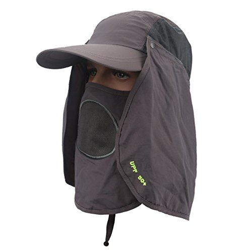 ac5dfa20 Leoie Bluecell UV 50+Protection Outdoor Multifunctional Flap Cap with Removable  Sun Shield and Mask