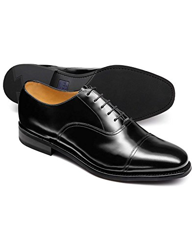 Black Goodyear Welted Oxford Rubber Sole Shoe by Charles Tyrwhitt Black