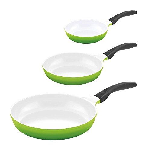 3er Set culinario Keramikpfannen, Ø 20, 24 und 28 cm, grün, antihaft und induktionsgeeignet