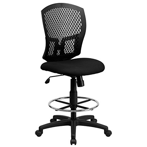 (A Line Furniture Perforated Designer Back Armless Drafting Chair with Adjustable Chrome Foot Ring)