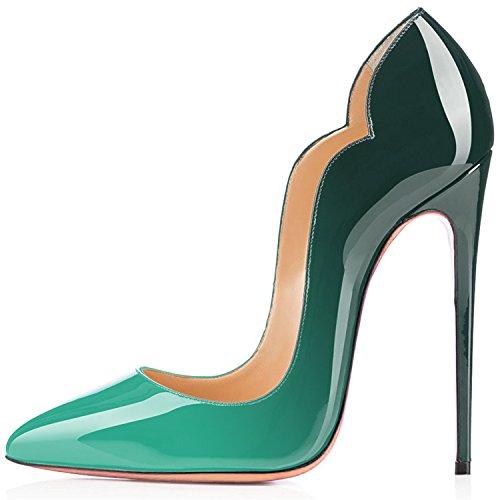 Femmes Chaussures B Grande Vert Laçage Aiguille Taille Talon Soles Stiletto Rouge Ubeauty Escarpins 1w4qE857