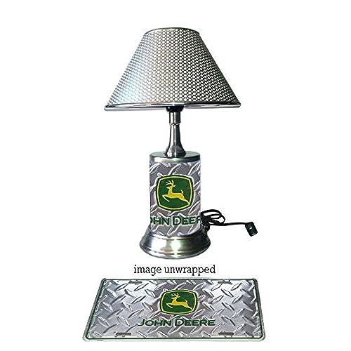 John Deere Lamp With Chrome Shade, Diamond Metal Plate Wraps The Base