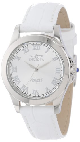 Invicta Women's 14804 Angel Silver Dial White Leather Interchangeable Strap Watch Set (Polished Dial White)