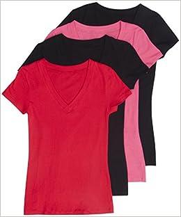 9a4823dd3 4 Pack Zenana Women's Basic Plus V-Neck Tees 3X Black, Black, Fuchsia, Red  Apparel
