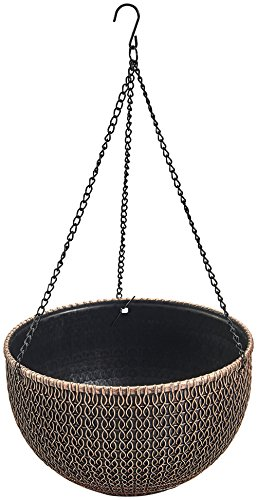 Rustic Hanging/Base Combo Planter Antique Look Plastic Flowerpot Nursery for Indoor, Outdoor, Garden Patio Office Ornaments Home Decor Use Long Lasting Reusable Light Weight (Copper-L) - Neoclassical Vase Base