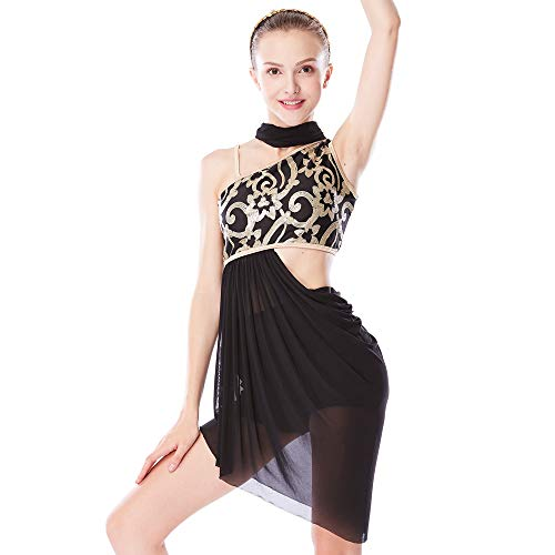 MiDee Lyrical Dress 2 Pieces Dance Costumes Floral Sequins Highlow Neck Side Waist Open Drap Skirt (MA, Black)]()