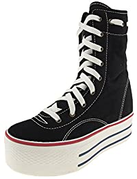 Maxstar 9 Holes Middle Boots Canvas Platform Sneakers Shoes