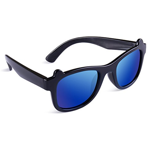 SEEKWAY Kid's Polarized Silicon Rubber Sunglasses For Toddlers Children Age 3-10 SRK8132(Black&Black,Blue Iced Lens)