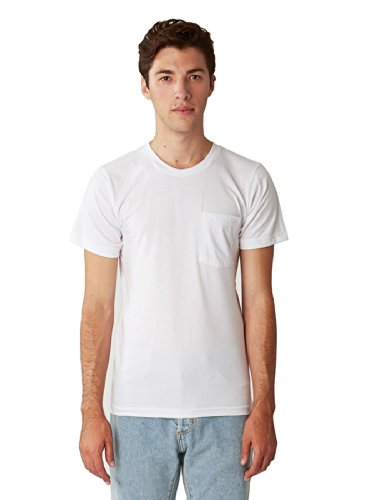 American Apparel Men Fine Jersey Crewneck Pocket T-Shirt Size L White