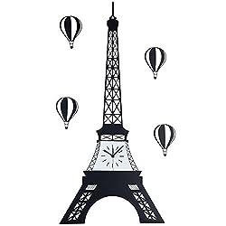 guazhong MCC Creative Eiffel Paris Tower Metal Wall Clock Personalized Balloon Decoration Clock Watch Fashion Living Room, Black