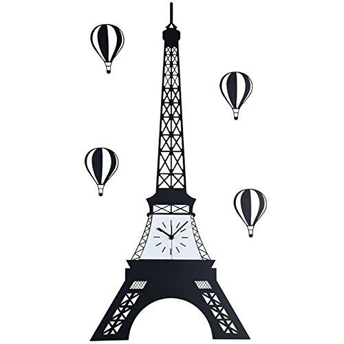 Infinity Eiffel Tower Wall Clock - MCC Creative Eiffel Paris Tower Metal Wall Clock Personalized Balloon Decoration Clock Watch Fashion Living Room , black