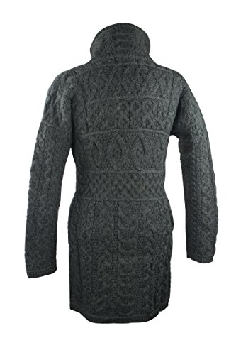 100% Irish Merino Wool Double Collar Aran Knit Coat, Charcoal, Large