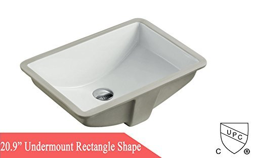 "Kingsman 20.9 Inch Durable Rectrangle Undermount Drop In Vitreous Ceramic Lavatory Vanity Bathroom Sink - Pure White (20.9"")"