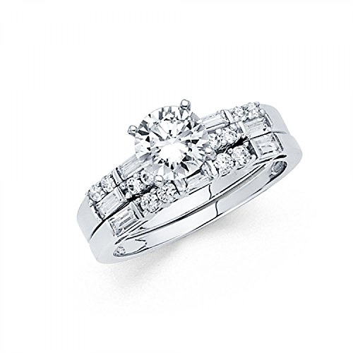 14k White Gold Solid Engagement Ring and Wedding Band 2 Piece Set 1.25 Ct - Size 5