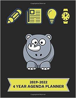 2019-2022 4 Year Agenda Planner: Rhinoceros Themed Weekly ...