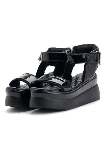 Sandals WeenFashion Open Heel Solid Toe 6 5 Cow Leather M Kitten Black Womens Platform US Patent Leather B qPIr5q