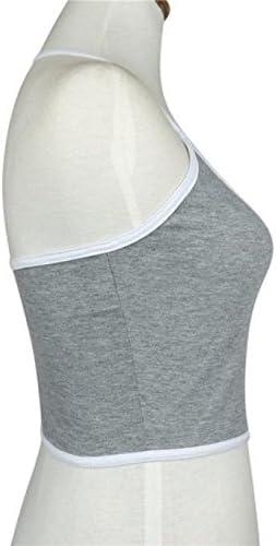 Womens Yoga Sports Crop Bra Halter Neck Medium Support Workout Top M, Gray