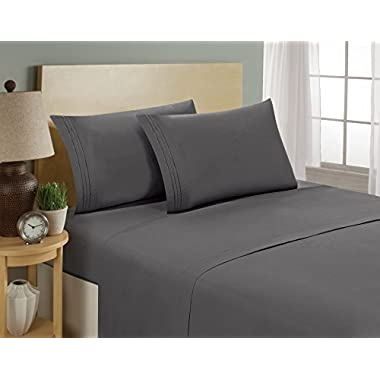 1800 Series Egyptian Collection 3 Line Microfiber 4 Piece Bed Sheet Set (Full, Grey)