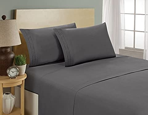 1800 Series Egyptian Collection 3 Line Microfiber 4 Piece Bed Sheet Set (Queen, Grey)