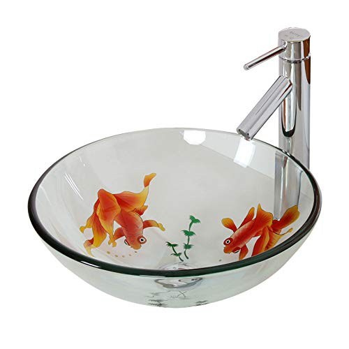 ELITE Bathroom Koi Fish Glass Vessel Sink & Chrome Single Lever Faucet Combo