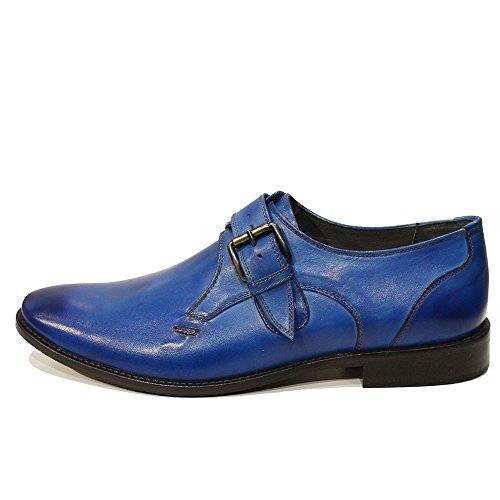 Modello Bluto - Cuero Italiano Hecho A Mano Hombre Piel Azul Monk Zapatos Oxfords - Cuero Cuero pintado a mano - Hebilla