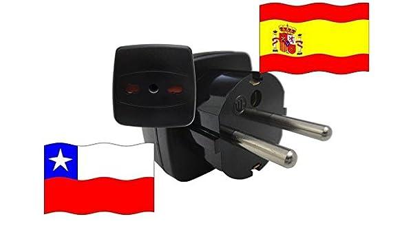Adaptador de Viaje para España y Chile ES/CL Enchufe de Viaje (Contacto de Protección): Amazon.es: Iluminación