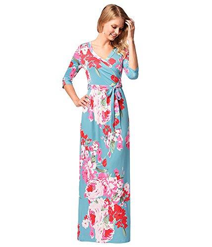 Sky antaina Blue Maxi Floor Wrap V Print Floral Boho Night Out Length Neck Dress Beach O1SwUpq