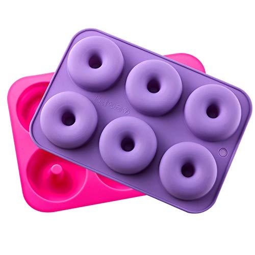 KLEMOO 2-Pack Donut Baking Pan, Silicone, Non-Stick Mold, Ba