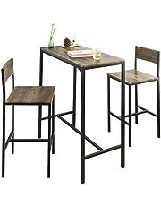 SoBuy stół z krzesłami stolik barowy stoły z krzesłami Brązowy, OGT03-XL