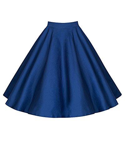 Femmes Casual Retro Imprime Floral Taille Haute Plissee Jupe A-Line Jupe vase Bleu