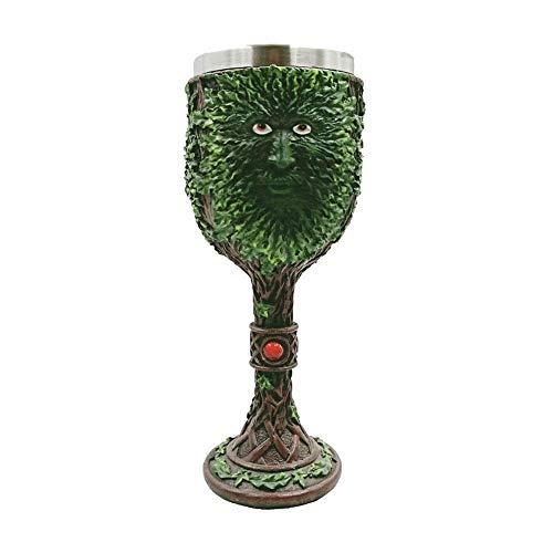 (Umiwe Green Tree Man Coffee Goblet Cup Stainless Steel Resin Travel Tea Wine Beer Mugs )