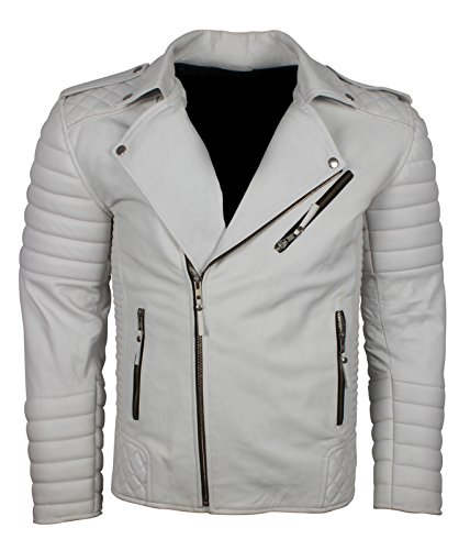 Vintage White Leather Jacket - 7
