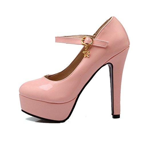 Amoonyfashion Donna Tinta Unita In Vernice Con Tacchi Alti Fibbia Rotonda Punta Chiusa Pompe-scarpe Rosa
