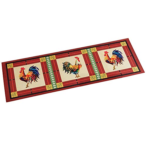 (Charming French Country Rooster Accent Rug with Skid-Resistant Backing, 20