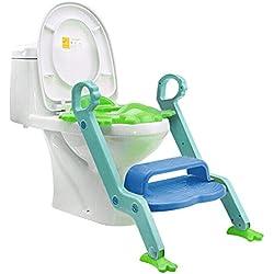 Jiyaru Baby Potty Training Toddler Toilet Ladder Child Seat Steps Assistant Orange + Green