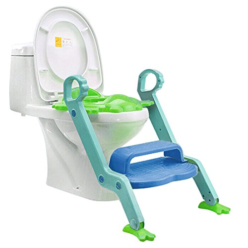 Review Jiyaru Baby Potty Training Toddler Toilet Ladder Child Seat Steps Assistant Orange + Green