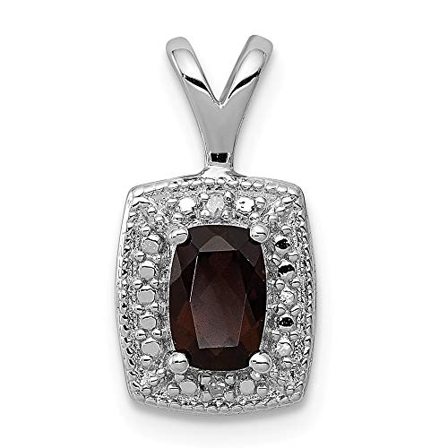 925 Sterling Silver (0.007cttw) Smoky Quartz Diamond Pendant (15mm x 9mm) ()