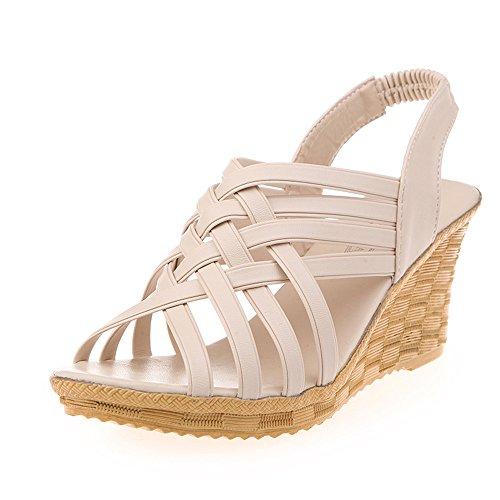 Kauneus  Women Sandals Summer Checkered Belt Gladiator Sandal High Platforms Wedges Cut Outs Pattern Shoes Beige -