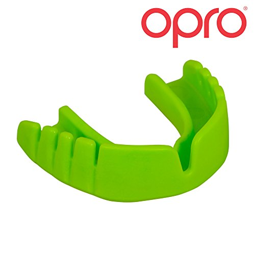 OPRO Mouthguard Snap-Fit Gum Shield for Ball, Combat and Stick Sports - No Boiling or Fitting Required -18 Month Warranty (Adult and Kids Sizes)- Green (Soft Protection Green)