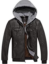 Wantdo Men's Stylish Removable Hood Faux Leather Jacket