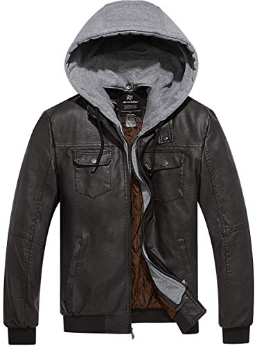 (Wantdo Men's PU Faux Leather Jacket Moto Jacket with Removable Hood L Coffee)