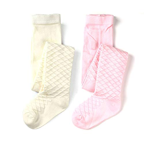 (School Kids Girls Cotton Knit Tights Waffles Pattern (Pink White, 5-6y Height 41