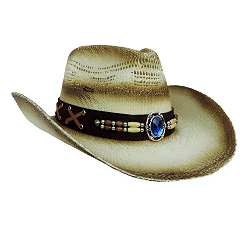 Natural Stained Woven Straw Western Cowboy Hat w/ Blue Gem Band