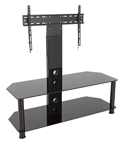 AVF SDCL1140BB-A  Stand with TV Mount for TVs up to 65-inch, Black Glass, Black Legs