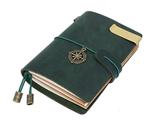 Traveler Notebook Vintage Handmade Refillable Legends 5.3 X 4 Inch Journal With Elastic Strap Closure  Key Cross ,Include Card Slots + a zipper pouch…