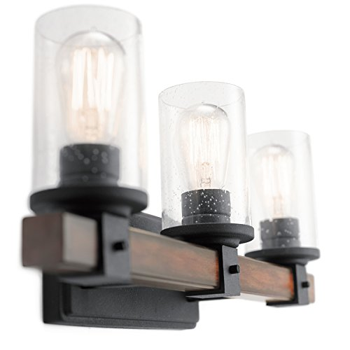 Kichler Lighting 3 Light Barrington Distressed Black and Wood Bathroom Vanity Light by Kichler
