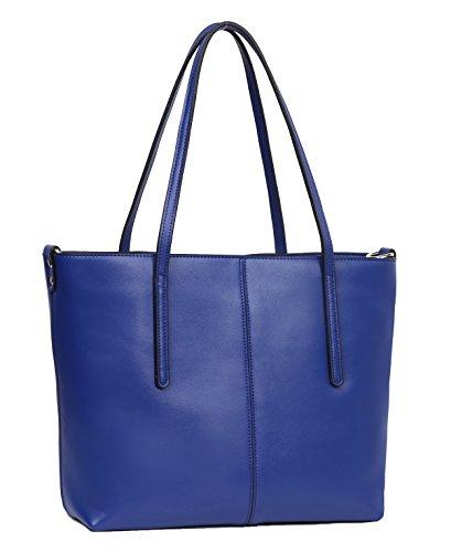 (Obosoyo Women's Handbag Genuine Leather Tote Shoulder Bags Soft Hot Blue-Small)